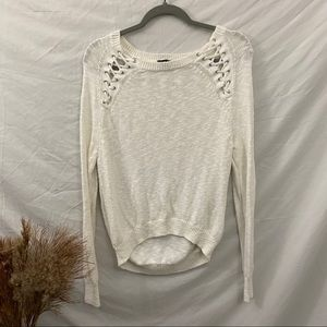 Express White Knit Sweater Lace Up Detail